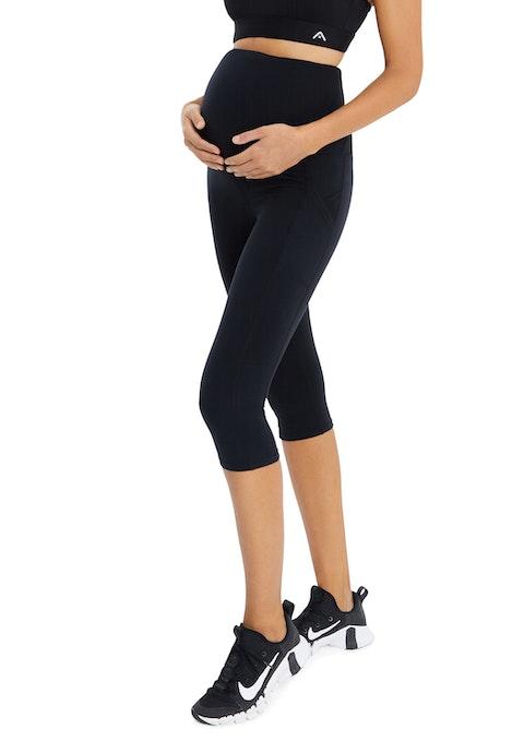 Black 3/4 Maternity Cross Pocket Tight