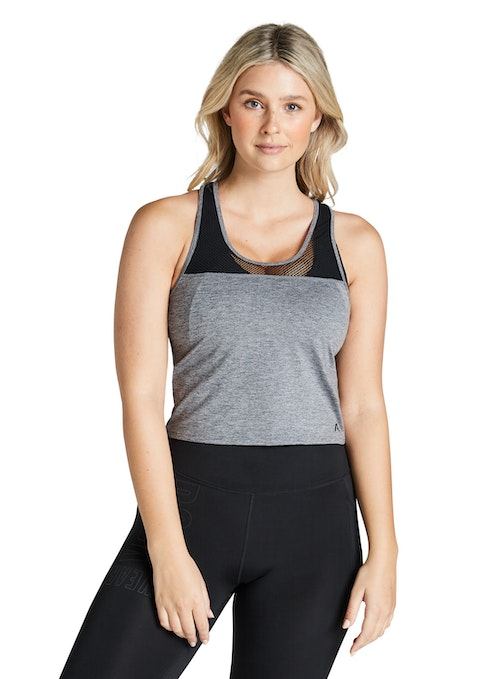 Mid Grey Marle Indiana Mesh Butterfly Back Singlet
