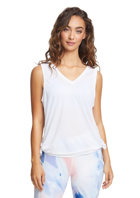 White Spirit Longline Side Tie Tank