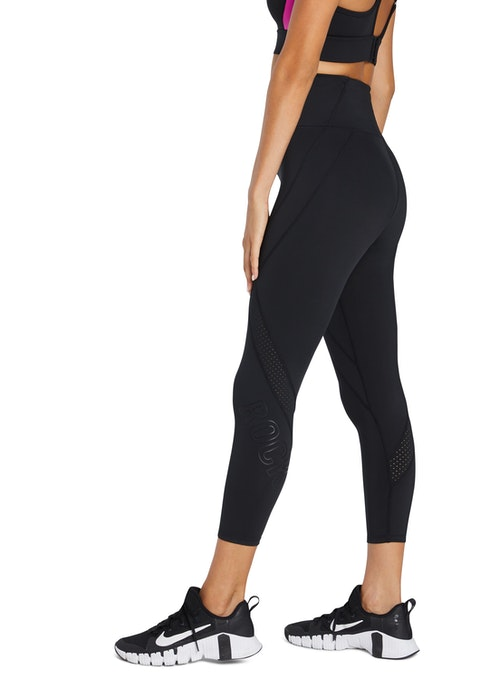 Black Perforated Logo Ankle Grazer Tights
