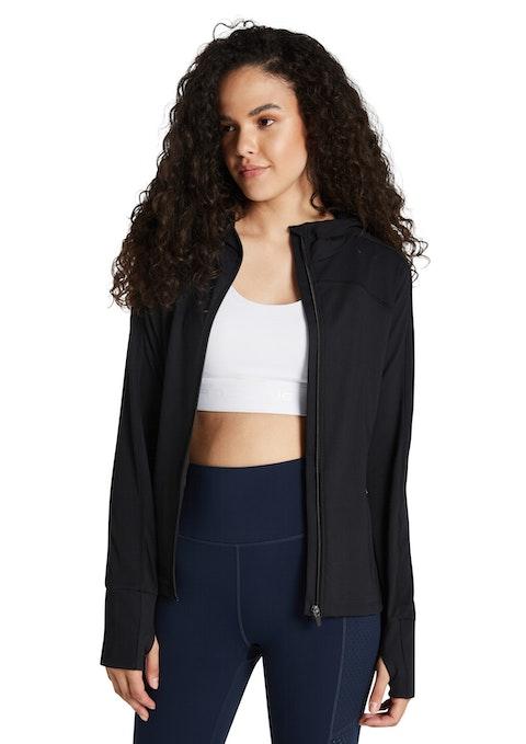 Black Ribbed Panel Hooded Jacket