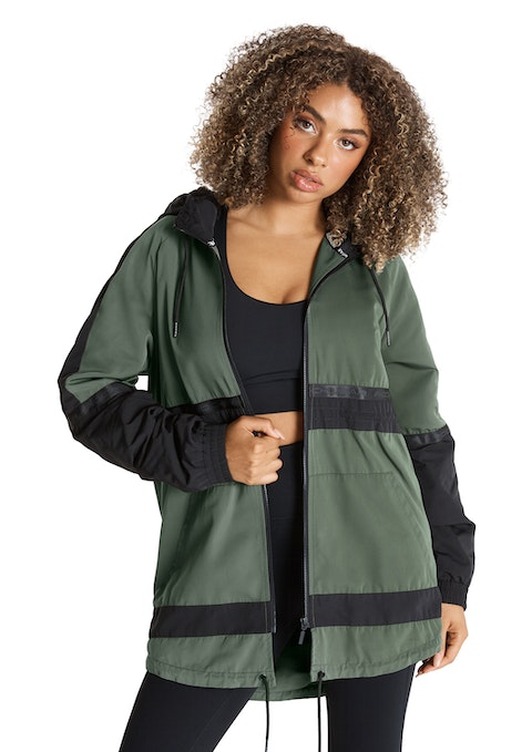 Moss Colour Block Sherpa Lined Anorak