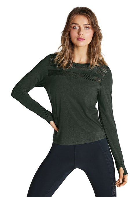 Willow Long Sleeve Mesh Panel Top
